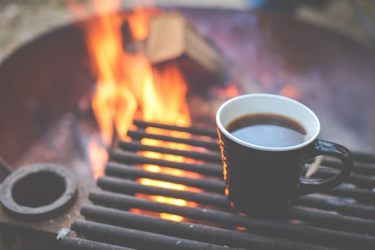Morning coffee during a camp